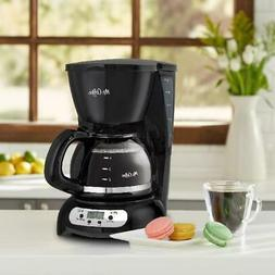 Black 5 Cup Coffee Maker Stainless Steel Drip Programmable R