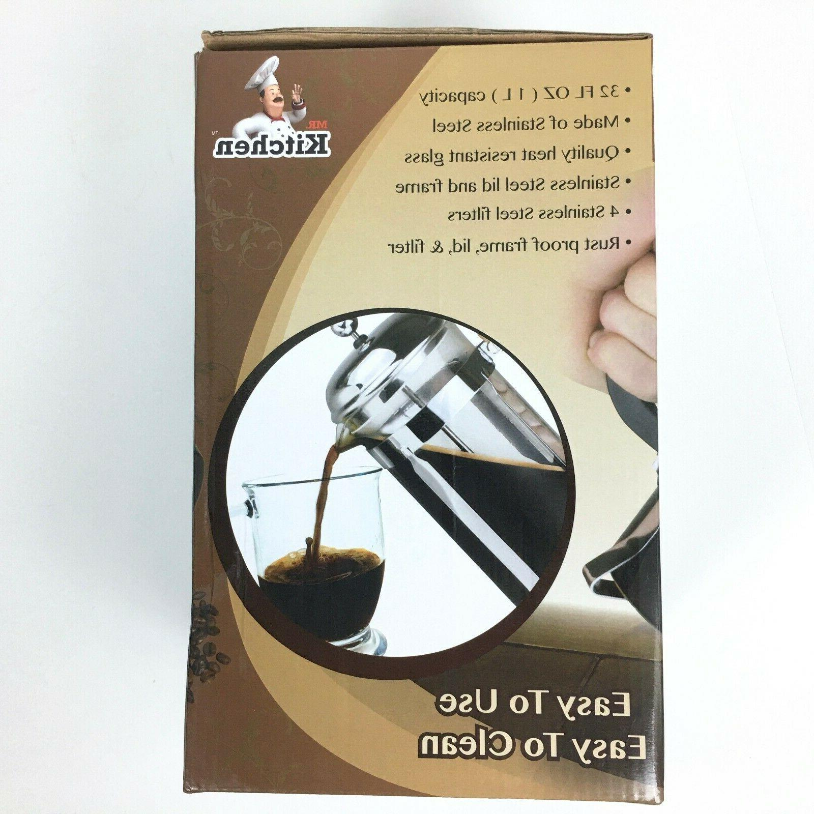 NEW Kitchen French Glass Coffee Press 8 cup 32 ounce