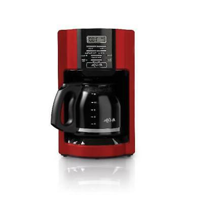 Automatic Brew Timer Mr Coffee Maker Red Drip Removable Filter Basket
