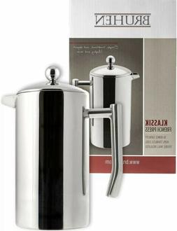 Large Stainless Steel French Press Coffee Maker - Double Wal