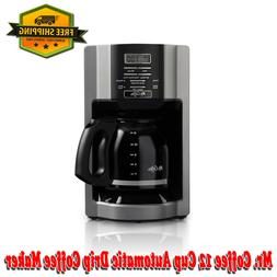 Mr. Coffee 12 Cup Automatic Drip Coffee Maker, Black/Silver,