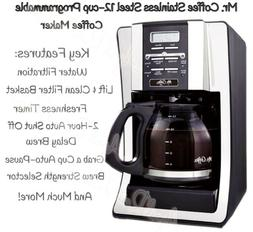 MR. COFFEE 12 Cup Stainless Steel PROGRAMMABLE COFFEE MAKER