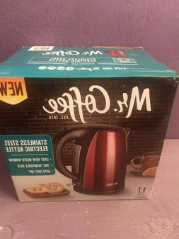 MR. COFFEE STAINLESS STEEL ELECTRIC KETTLE/RED
