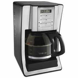 12-Cup Programmable Coffeemaker, Black/Brushed Silver